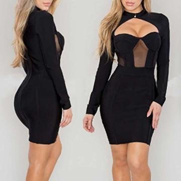 Beikoard Damenkleid Sexy Bodycon Party-Minikleid Langarm Nachtclub-Kleid Kurz Kleider Durchbrochenes Kleid - 4