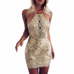 Beikoard Damenkleider Sexy Frauen Paillette Golden Bodycon-Kleid Seidenstickerei Ärmellos Abendkleider Camisole Trägerkleid Rückenfreies Gesäß Minikleid - 1