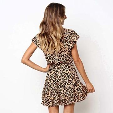 Beikoard Kleid Damen Prinzessinenkleid Leopard Druck Minikleid V-Ausschnitt Kurzarm Sommerkleid Knopf kurzes Kleid - 2
