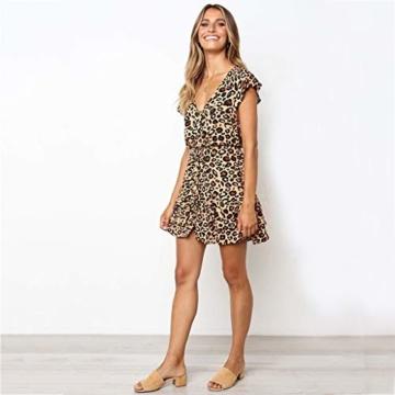 Beikoard Kleid Damen Prinzessinenkleid Leopard Druck Minikleid V-Ausschnitt Kurzarm Sommerkleid Knopf kurzes Kleid - 3