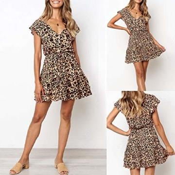 Beikoard Kleid Damen Prinzessinenkleid Leopard Druck Minikleid V-Ausschnitt Kurzarm Sommerkleid Knopf kurzes Kleid - 4