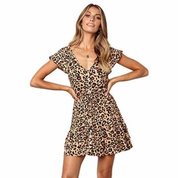 Beikoard Kleid Damen Prinzessinenkleid Leopard Druck Minikleid V-Ausschnitt Kurzarm Sommerkleid Knopf kurzes Kleid - 1