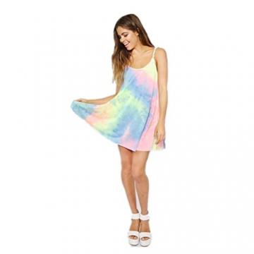 Bekleidung Kleid Loveso Sommerkleid Damen Mode Retro Elegant Chic Regenbogen Farbe Ärmellos Schulterfrei V-Ausschnitt Polyester Baumwolle Mini Kurzes Kleid ((Größe):36 (M), Mehrfarbig) -