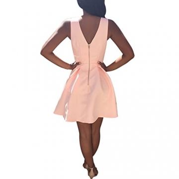 Bekleidung Longra Damen Sommerkleider V Neck ärmelloses Cocktailkleider Party Abendkleider (Asian S, Pink) -