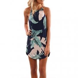 Bekleidung Longra Elegant Damen Sommerkleid Minikleid Casual Halter Blätter Druck Schulterriemen Strandkleider (M/36, Navy) -