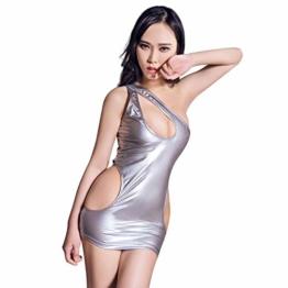Bekleidung & Schuhe Für Modepuppen Kostüme Für Erwachsene Sexy Frauen Hollow Out Mikrokleid Shiny Gloss Pole Dance Mini Kleid Latex Sexy Fantasy Erotic Wear-Silver_One_Size - 1