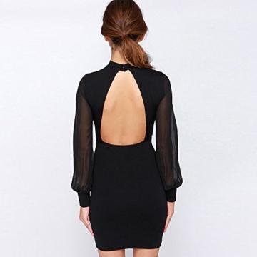Belle Style Rückenfrei Kleid Damen IHRKleid® Elegant Etuikleid Knielang Festliche Kleider (M, Schwarz) - 4