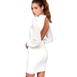 Belle Style Rückenfrei Kleid Damen IHRKleid® Elegant Etuikleid Knielang Festliche Kleider (L, Weiß) - 1