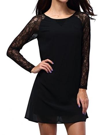 Bepei Damen Chiffon Sommer Langarmkleid Longtop Casualkleid Minikleid Shirtkleid Schwarz S - 2