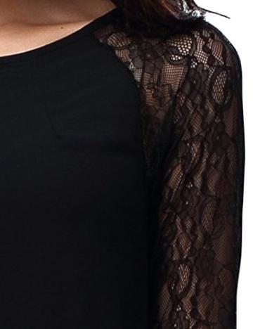Bepei Damen Chiffon Sommer Langarmkleid Longtop Casualkleid Minikleid Shirtkleid Schwarz S - 4