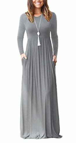 Bequemer Laden Damen Rundhals Kleider Langarms Maxikleider Partykleid Casual Kleid mit Taschen Grau Large - 1