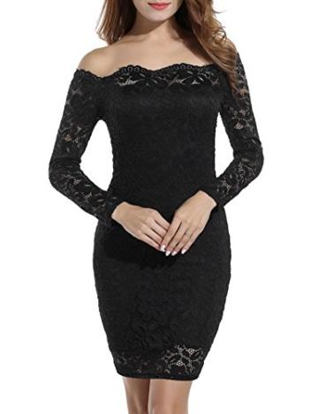 Beyove Damen Schulterfreies Spitzenkleid mit Knielang Langarm sexy Cocktailkleid Abendkleid Blumenkleid Partykleid - 2