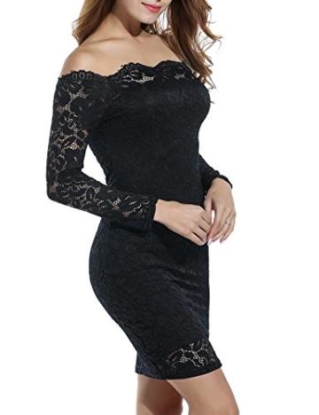 Beyove Damen Schulterfreies Spitzenkleid mit Knielang Langarm sexy Cocktailkleid Abendkleid Blumenkleid Partykleid - 3