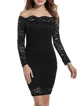 Beyove Damen Schulterfreies Spitzenkleid mit Knielang Langarm sexy Cocktailkleid Abendkleid Blumenkleid Partykleid - 1