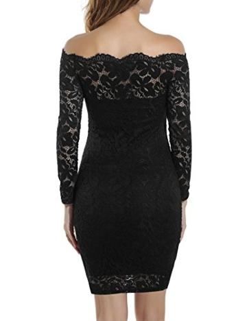 Beyove Damen Schulterfreies Spitzenkleid mit Knielang Langarm sexy Cocktailkleid Abendkleid Blumenkleid Partykleid - 4