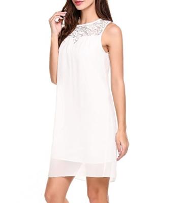 Beyove Sommerkleid Damen Elegant Kurz Chiffonkleid Casual Abendkleid mit Spitze Partykleid Sexy Hochzeit Strand , Weiß - XL - 1