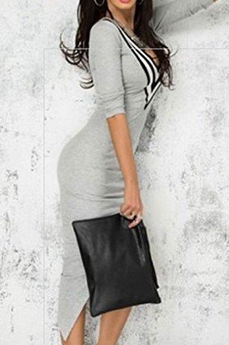 Bigood V-Ausschnitt Sexy Damen Slim Kleid Minikleid Schlitz Cocktailkleid Grau - 2