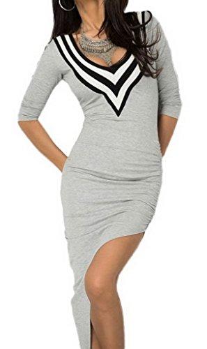 Bigood V-Ausschnitt Sexy Damen Slim Kleid Minikleid Schlitz Cocktailkleid Grau - 1