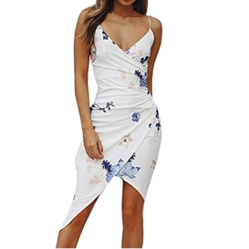 Binggong Kleid Kleid Damen,Binggong Frauen Sexy V-Ausschnitt Druck Ärmellos Gesäß Camisole Beach Dress Rückenfreies Kleid Weisses Wickelkleid Elegant Abendkleider (S, Weiß) - 1