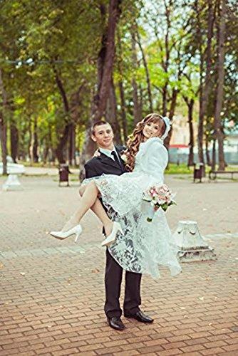 BIUBIU Damen Rundhals Cocktailkleid Spitze Ballkleid Kleid Partykleid Weiß DE 42 -