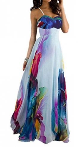 Blansdi Damen Mädchen Frauen Sommer Boho Maxi Blumen lange Strandkleid Trägerkleid V-Ausschnitt Wrapped Big Swing Kleid Clubwear (EU XL/Etikette XXXL, Weiß) -