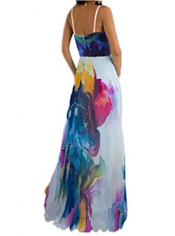Blansdi Damen Mädchen Frauen Sommer Boho Maxi Blumen lange Strandkleid Trägerkleid V-Ausschnitt Wrapped Big Swing Kleid Clubwear -