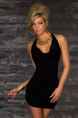 Blansdi Damen Sexy Damen V-Ausschnitt Rueckenfrei Kleid Minikleid Party Abendkleid Cocktailkleid Dress Skirt Schwarz - 3