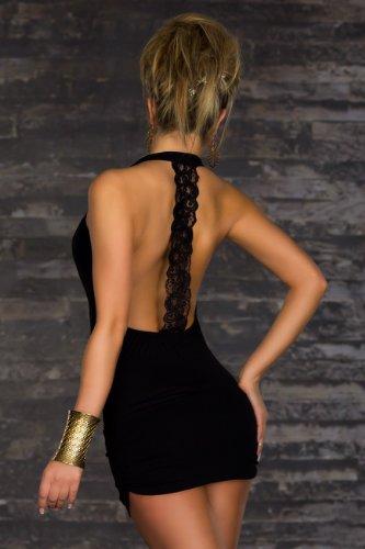 Blansdi Damen Sexy Damen V-Ausschnitt Rueckenfrei Kleid Minikleid Party Abendkleid Cocktailkleid Dress Skirt Schwarz - 5