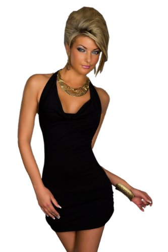 Blansdi Damen Sexy Damen V-Ausschnitt Rueckenfrei Kleid Minikleid Party Abendkleid Cocktailkleid Dress Skirt Schwarz - 1