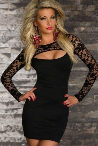 Blansdi-Langarm-Minikleid Spitze Sexy Patchwork Look Schwarz Mini-Kleid Abendkleid Partykleid Abend-Kleid Dress passt für Größe schwarz - 3