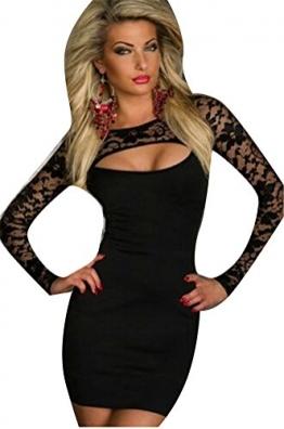 Blansdi-Langarm-Minikleid Spitze Sexy Patchwork Look Schwarz Mini-Kleid Abendkleid Partykleid Abend-Kleid Dress passt für Größe schwarz - 1