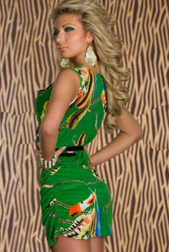 Blansdi Mode Robe Kleid Sexy Babydoll Wrap Federdruck Kleid Minirock Clubwear Kostüm grün -