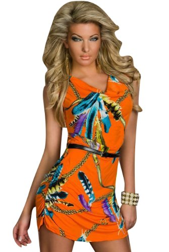 Blansdi Mode Robe Kleid Sexy Babydoll Wrap Federdruck Kleid Minirock Clubwear Kostüm Orange - 1