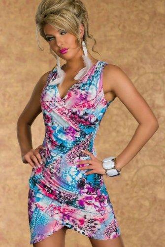 Blansdi Sexy Damen Rückenfrei V-Hals Bunte Blumen Kleid Minikleid Party Abendkleid Cocktailkleid Dress Skirt Blau - 4