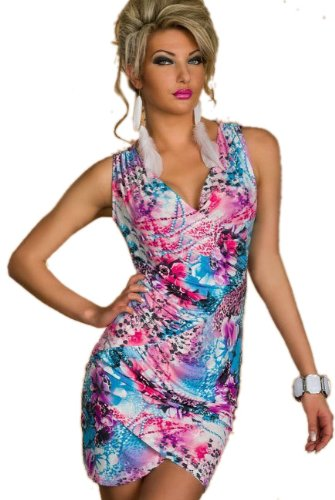 Blansdi Sexy Damen Rückenfrei V-Hals Bunte Blumen Kleid Minikleid Party Abendkleid Cocktailkleid Dress Skirt Blau - 1