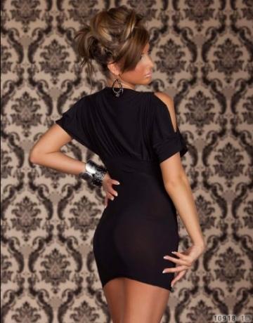 Blansdi Sexy kurzarm Damen v-Ausschnitt ärmelloses Kleid Minirock Sexy Wäsche Clubwear Schwarz -