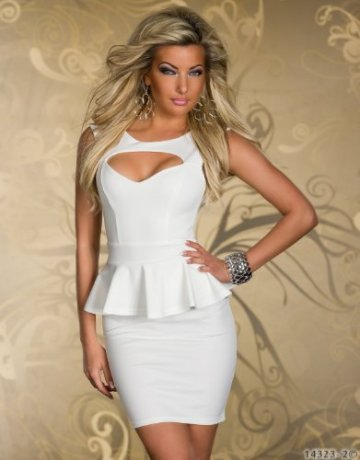 Blansdi Sexy Low cut Minikleid Abendkleid cut out peplum Cocktailkleid Business Kleid Dress Weiß -