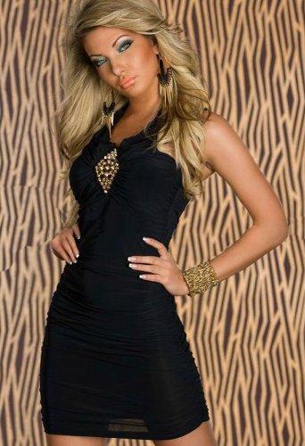 Blansdi Sexy Ohne armTailliertes Minikleid feinem Stretch-Stoff Abendkleid Cocktailkleid in verschiedenen Farben schwarz - 2