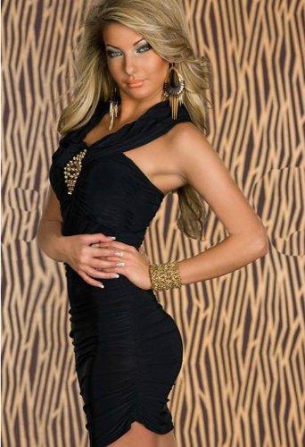 Blansdi Sexy Ohne armTailliertes Minikleid feinem Stretch-Stoff Abendkleid Cocktailkleid in verschiedenen Farben schwarz - 3