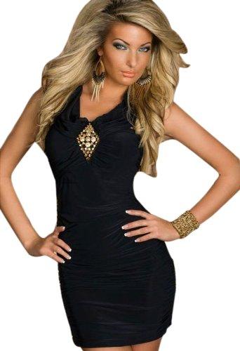 Blansdi Sexy Ohne armTailliertes Minikleid feinem Stretch-Stoff Abendkleid Cocktailkleid in verschiedenen Farben schwarz - 1
