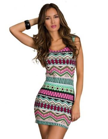 Blansdi Sexy Tailliertes Stretch Streifen bunt Minikleid Kleid Sexy Damen Kleid PartyKleid Abendkleid rosa - 1