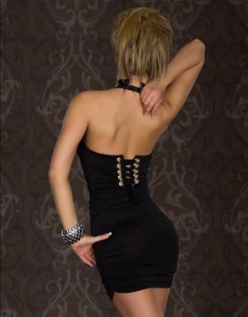 Blansdi Sexy V-Ausschnitt schwarz Damen Rückenfrei Kleid Minikleid Party Abendkleid Cocktailkleid Dress Skirt schwarz - 3