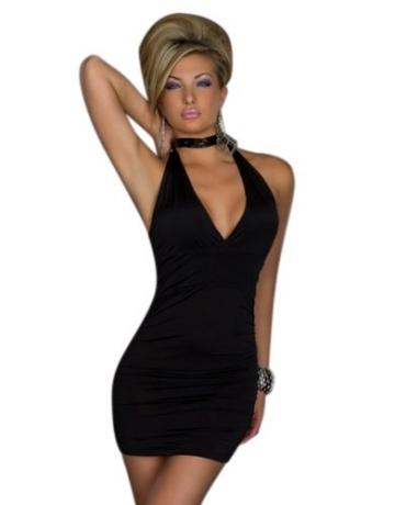 Blansdi Sexy V-Ausschnitt schwarz Damen Rückenfrei Kleid Minikleid Party Abendkleid Cocktailkleid Dress Skirt schwarz - 1