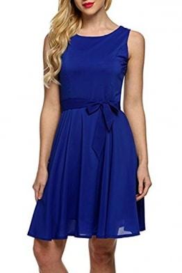 Blau Kleider, ErGirls Damen A-Linie Ärmellos Chiffonkleid Brautjungfernkleid Partykleid Prinzessin Hochzeit Kleid Minikleid (42, Blau) -