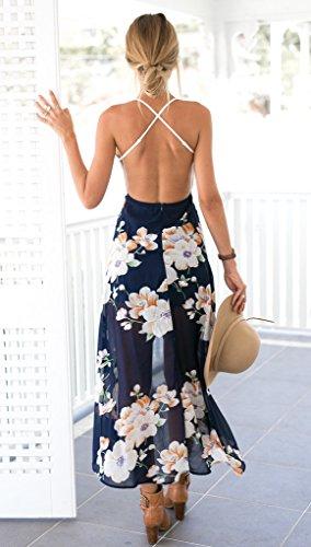 Blooming Jelly Damen Halter-Ansatz mit tiefem V Asymmetrisches Blumenkleid mit Spitze Wei? 36 -