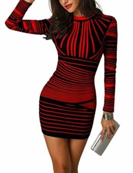 Bodycon Herbstkleid Mini Rot Schwarz Streifenmuster 1