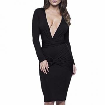 ツ bodycon Sexy Minikleid mit sehr tiefen Ausschnitt in Schwarz ...