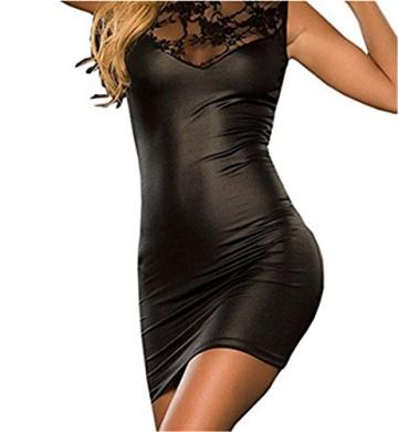 Bohai Damen mit V-Ausschnitt Transparent Häkelspitze-Leder-Wäsche -