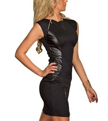 Boliyda Damen Bodycon Slim Sommer Reißverschluss Kunstleder Grils Kleid Schwarz XL - 6