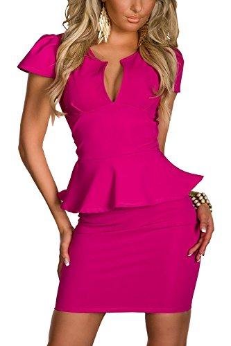 Boliyda Sexy Sexi Sommer Bodycan Low Cut V-Ausschnitt flounce Slim Club Kleid Clubwear Partywear Casual Tägliches Kleid für Damen Damen Dame Rose Red L Größe - 1